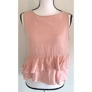 Zara pink ruffled blouse tank top size medium M